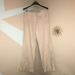 J. Crew City Fit Linen Cream Pants Wide Leg  10